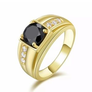 MEN'S ROUND CUT BLACK SAPPHIRE & CZ 18KT GOLD RING